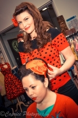 Lisa on hand to give the girls a style to match the rockabilly occasion.