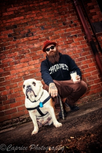 bulldogs, steve the bulldog, cool dude, man and his dog